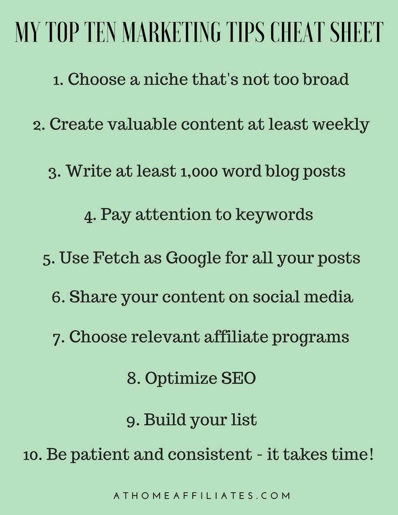 My Top Ten Marketing Tips Cheat Sheet