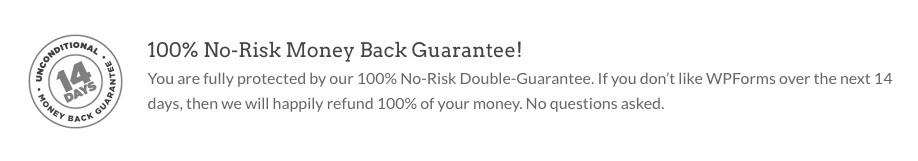 WPForms Plugin - Money Back Guarantee