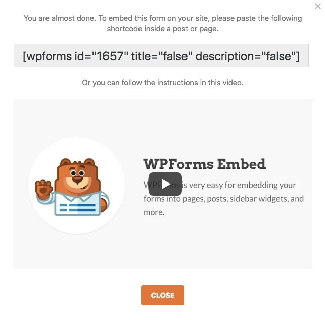WPForms Plugin - Embed Code and Video