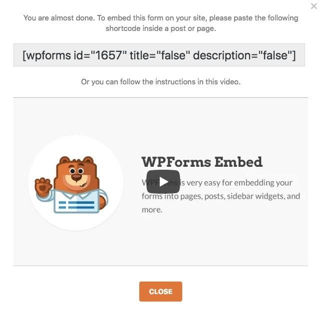 WPForms embed code and videl