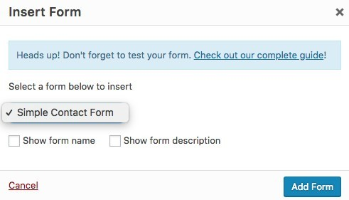 WPForms Plugin - Insert Form Popup