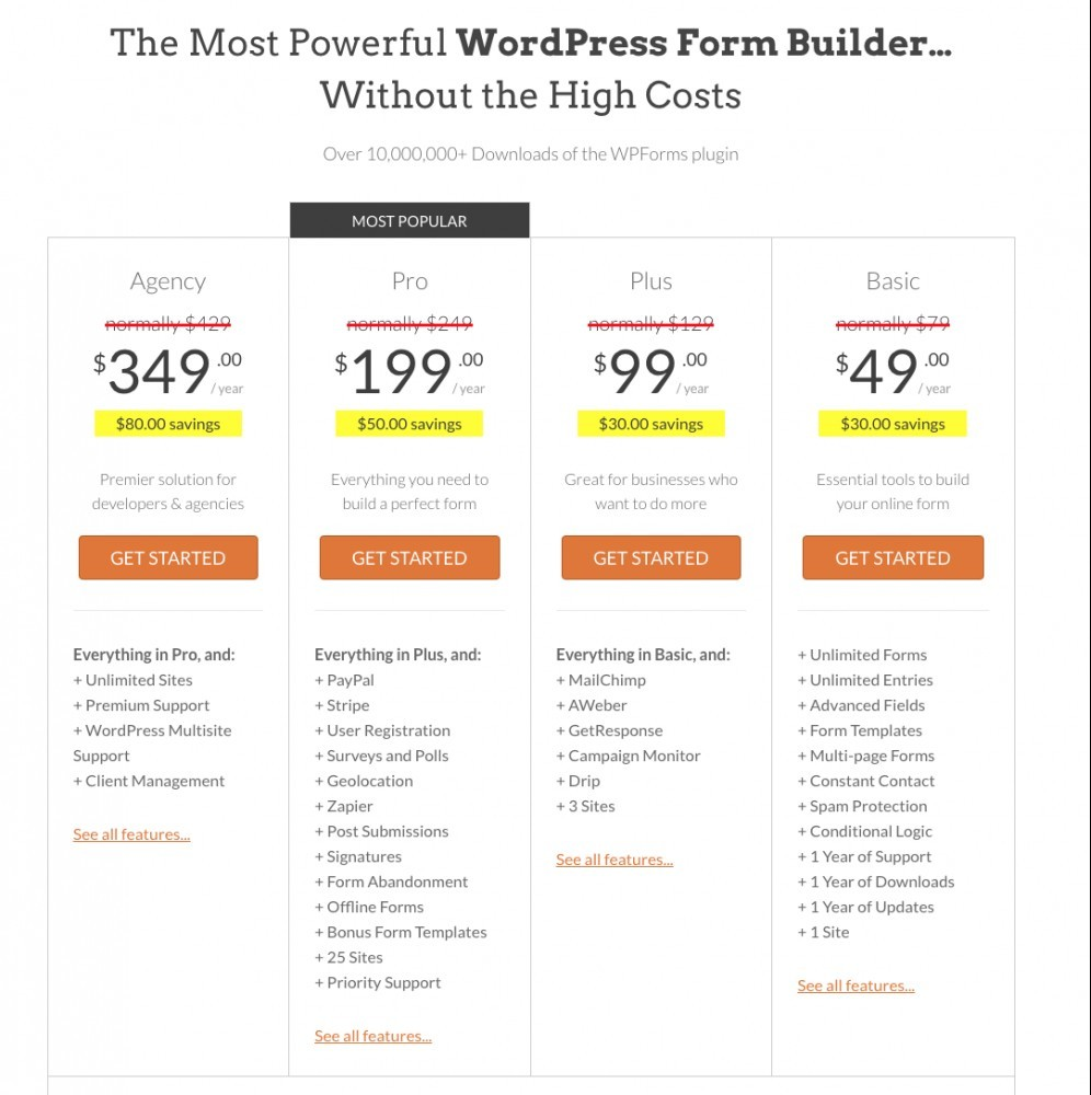 WPForms pricing structure