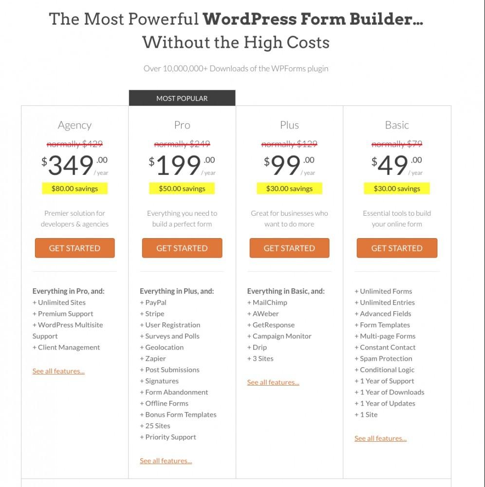 WPForms Plugin - Pricing Structure