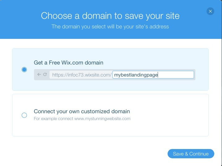 Free Wix domain