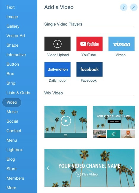 video editor in Wix