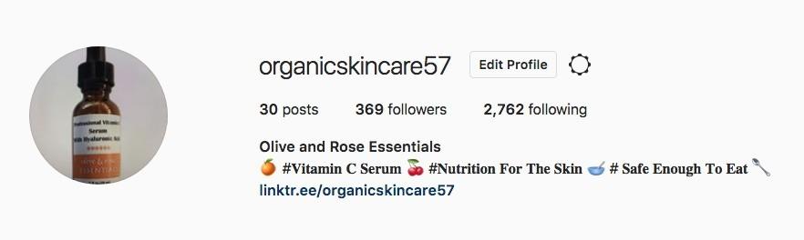 organicskincare57 instagram account