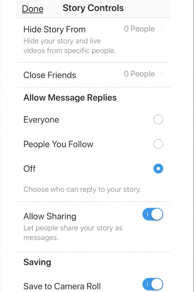story controls in instagram