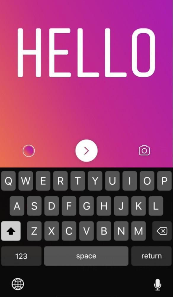 text option in instagram