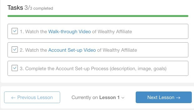 Wealthy Affiliate lesson 1 check off boxes