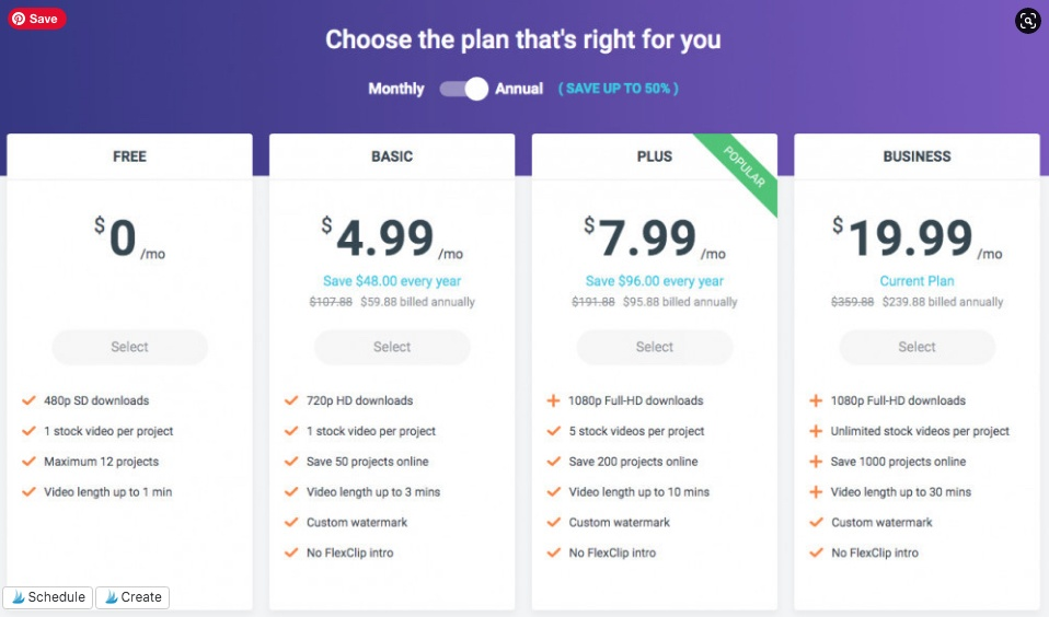 FlexClip Video Maker - Pricing Table