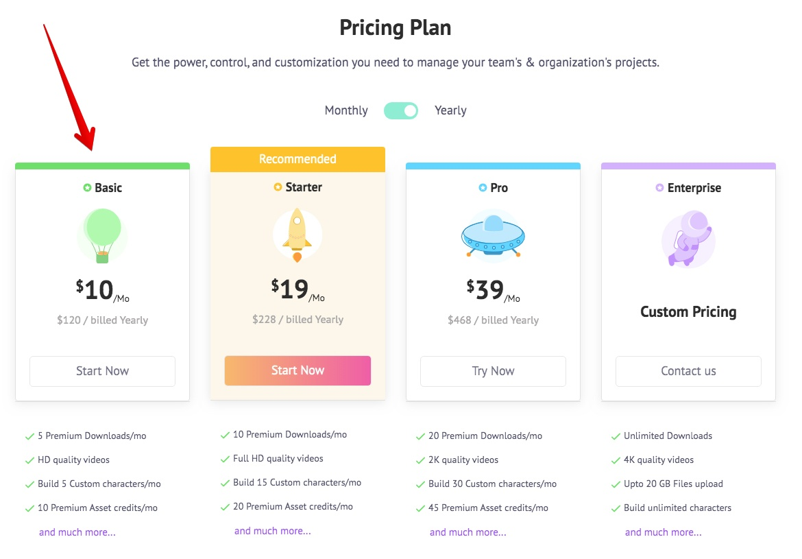Animaker Review - Pricing Chart