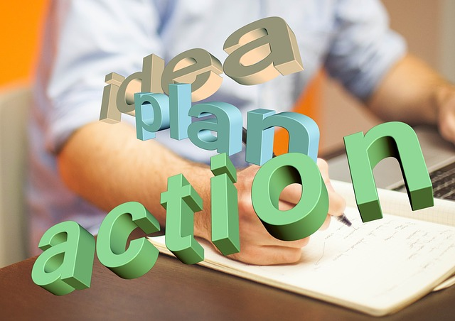 idea, plan, and action graphic