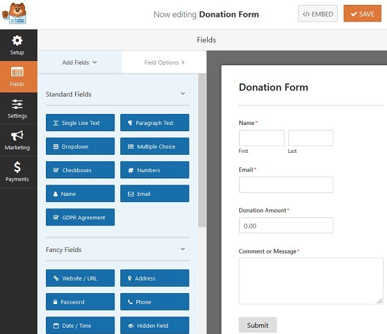 creating donation form in WPForms