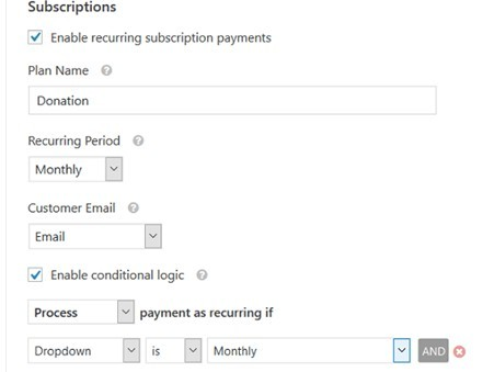 editing donation form in WPForms