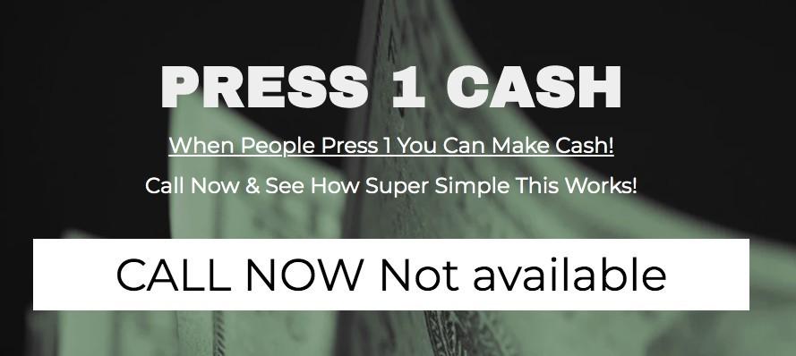 Press 1 Cash Review - Homepage Screenshot