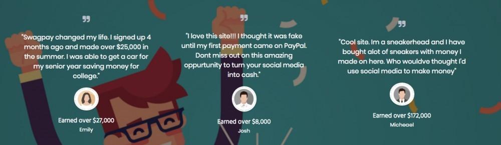 SwagPay testimonials screenshot