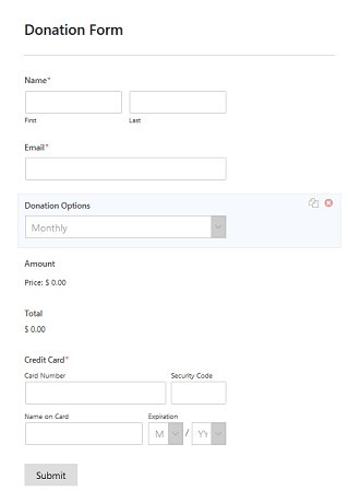 WPForms donation form with payment option